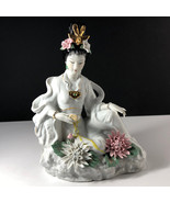GEISHA PORCELAIN STATUE Asian sculpture figurine antique Japan gold soap... - $272.25