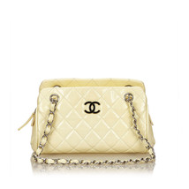 Pre-Loved Chanel White Ivory Patent Leather Matelasse Shoulder Bag Italy - $997.29