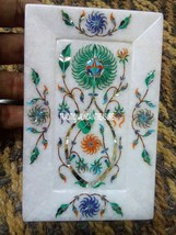 """7""""x5"""" White Marble Serving Dish Plate Malachite Gems Inlay Home Table De... - $153.33"""