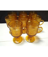 8 Vintage Indiana Tiara Amber Sandwich Glass Irish Coffee Footed Mugs - $64.99