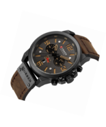 Military Watches for Men's Leather Strap Analog Quartz Wristwatch Sport ... - $77.49