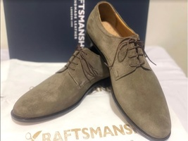 Handmade Men's Brown Suede Dress/Formal Lace Up Oxford Shoes image 1