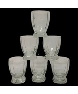 6 VTG Clear Square Footed Beverage Glasses Lowball Rocks Whiskey Barware  - $25.73
