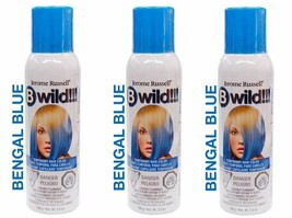 New 3 Pack Jerome Russell B Wild Temporary Hair Color Spray 3.5 OZ Bengal Blue