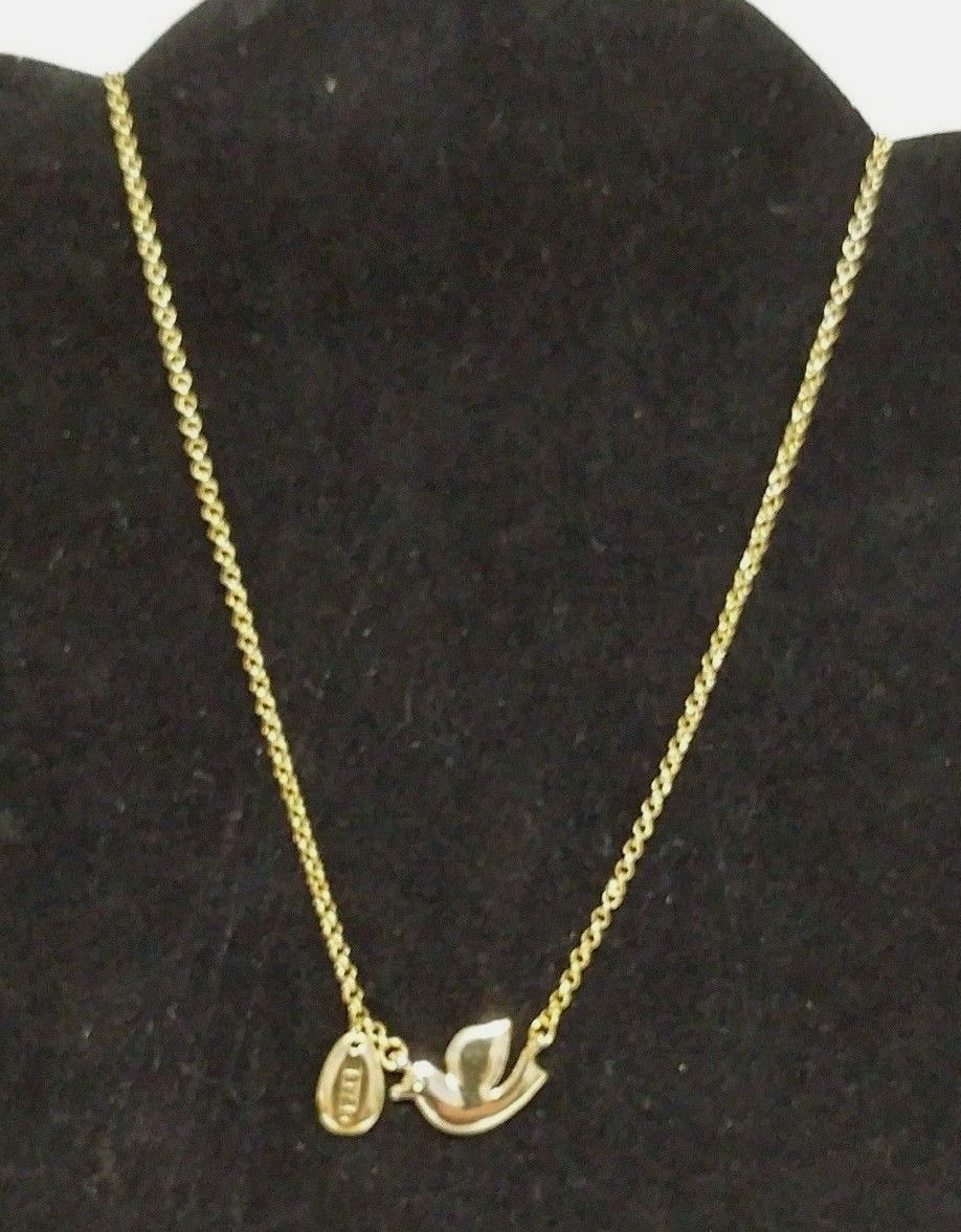 """Cookie Lee Necklace Dove Peace Charm Goldtone 18"""" NWT"""