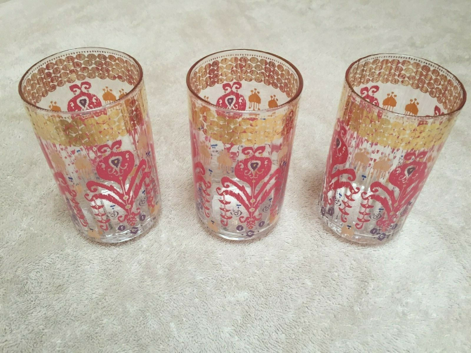 ANTHROPOLOGIE Set of 6 Pink/White/Gold Painted Juice/Soda Glasses