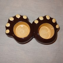 """Bear Paws Candle Holder Ceramic Double Tealight 6"""" Long Yankee Candle Co Cabin - $9.99"""