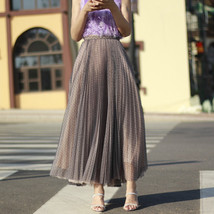 Black Polka Dot Tulle Skirt Black Pleated Tulle Midi Skirt image 10
