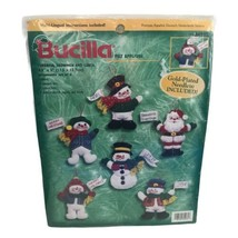 Bucilla Felt Appliqué Christmas Ornaments Kits Cheerful Snowmen And Sant... - $31.58