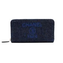 Chanel Medium Navy Blue Tweet Canvas Zip Wallet A81977 5B746 - $1,099.00