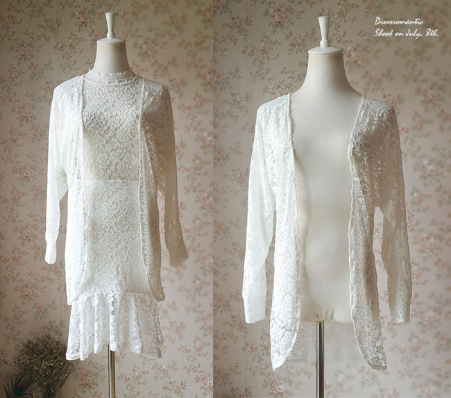 Open Ivory White Long Sleeve Stretch Lace Cover Up Wedding Lace Bolero PLUS SIZE