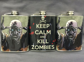 Set of 3 Zombie Keep Calm Flasks 8oz Stainless Steel Hip Drinking Whiskey - $17.38