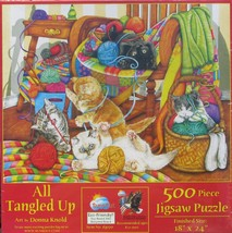SunsOut ALL TANGLED UP 500 pc Jigsaw Puzzle Donna Knold Kittens Sewing - $11.87