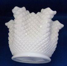 "Westmoreland Vase White - Milk Glass Pinched Sides English Hobnail 5.5"" ... - $6.85"