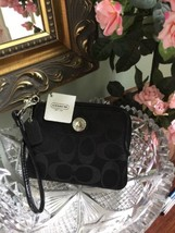 New Coach Wallet Small Black Signature Sateen Zip Clutch  F44268 W8 - $54.44