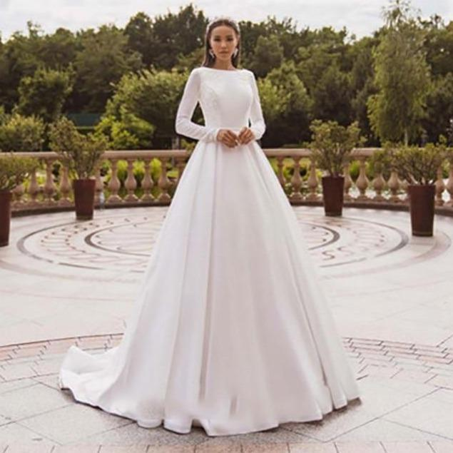 Egant satin wedding dresses long sleeve lace bride gown muslim wedding gown covered back vestido