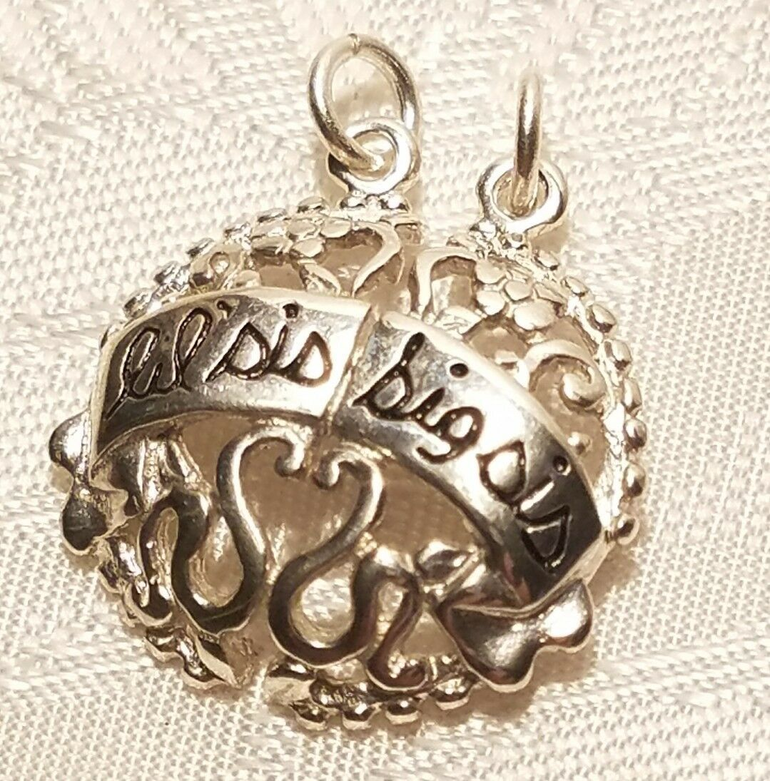 Big Sis Lil Sis  Sterling Silver Charm New .925 Sisters Pendants 2 Piece