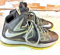 NIKE LeBron 10 Yellow Diamond Mens 9.5 Basketball Shoe Grey Yellow 54110... - $89.09