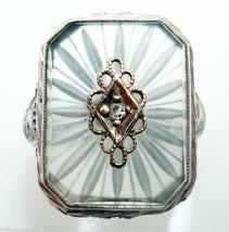 14k Gold Deco Filigree Genuine Natural Rock Crystal Ring w/Diamond (#2967) - $363.38