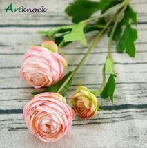 3Heads Artificial Ranunculus Asiaticus rose fake Flowers silk flores art... - $7.10