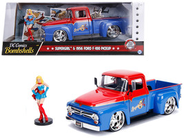"1956 Ford F-100 Pickup Truck Red and Blue with Supergirl Diecast Figure ""DC Com - $40.90"