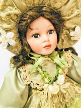 Vintage Beautiful Porcelain Doll with Light Green Dress Victorian Style - $44.54