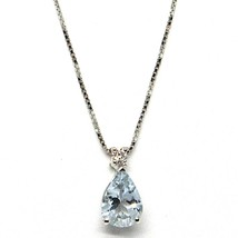 18K WHITE GOLD NECKLACE AQUAMARINE 0.60 DROP CUT & DIAMOND, PENDANT & CHAIN - $219.00