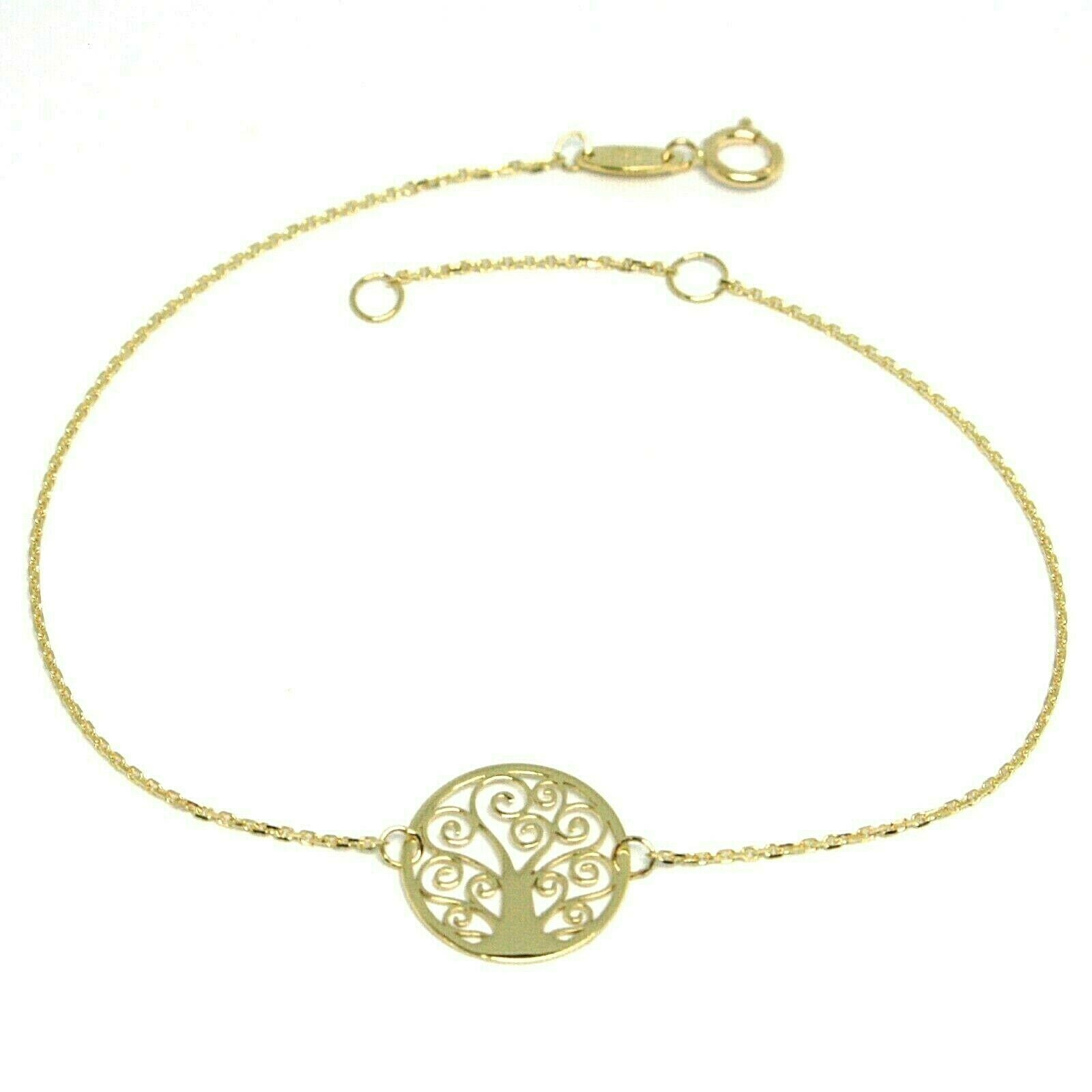 Mini Bracelet Yellow Gold 18k 750, Tree of Life, Central Perforated, 19 Cm
