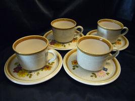 Mikasa Stone Manor Floribunda Tea Cup & Saucer #F5800 F5813 Set of 4 Floral - $21.56