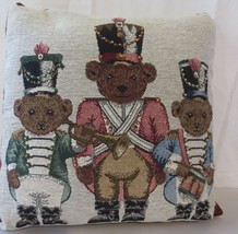 CHRISTMAS PILLOW BEAD DECORATIVE BEARS MARCHING BAND HORN DRUM MAJOR - $22.50