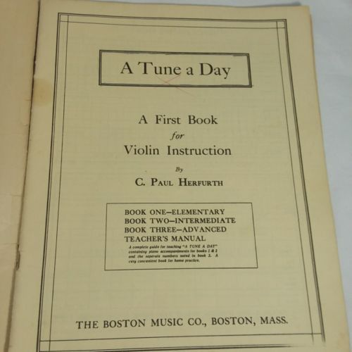 A Tune A Day Book 1  First Book For Violin Instruction  by C Paul Herfurth