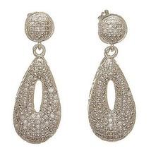 Pave Cubic Zirconia Sterling Silver TearDrop Dangle Earrings-CZ-Vermeil - $78.21