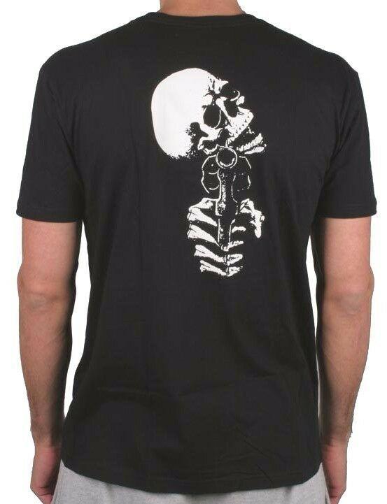 Zero Mens Black Dead On Arrival Skeleton Gun Revolver Skull Short-Sleeve T-Shirt