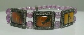 DANCING WITH THE STARS Double Row Purple Beads Enamel Stretch Bracelet - $4.94