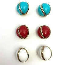 Sarah Coventry Holiday Round Plastic Clip On Earrings Lot Red Blue Vinta... - $24.69