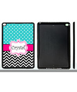 PERSONALIZED RUBBER CASE FOR iPad Air 1 2 Mini 1 2 3 4 BLUE POLKA DOTS C... - $15.98