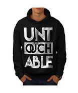 Untouchable Text Slogan Sweatshirt Hoody Funny Quote Men Hoodie - $20.99+
