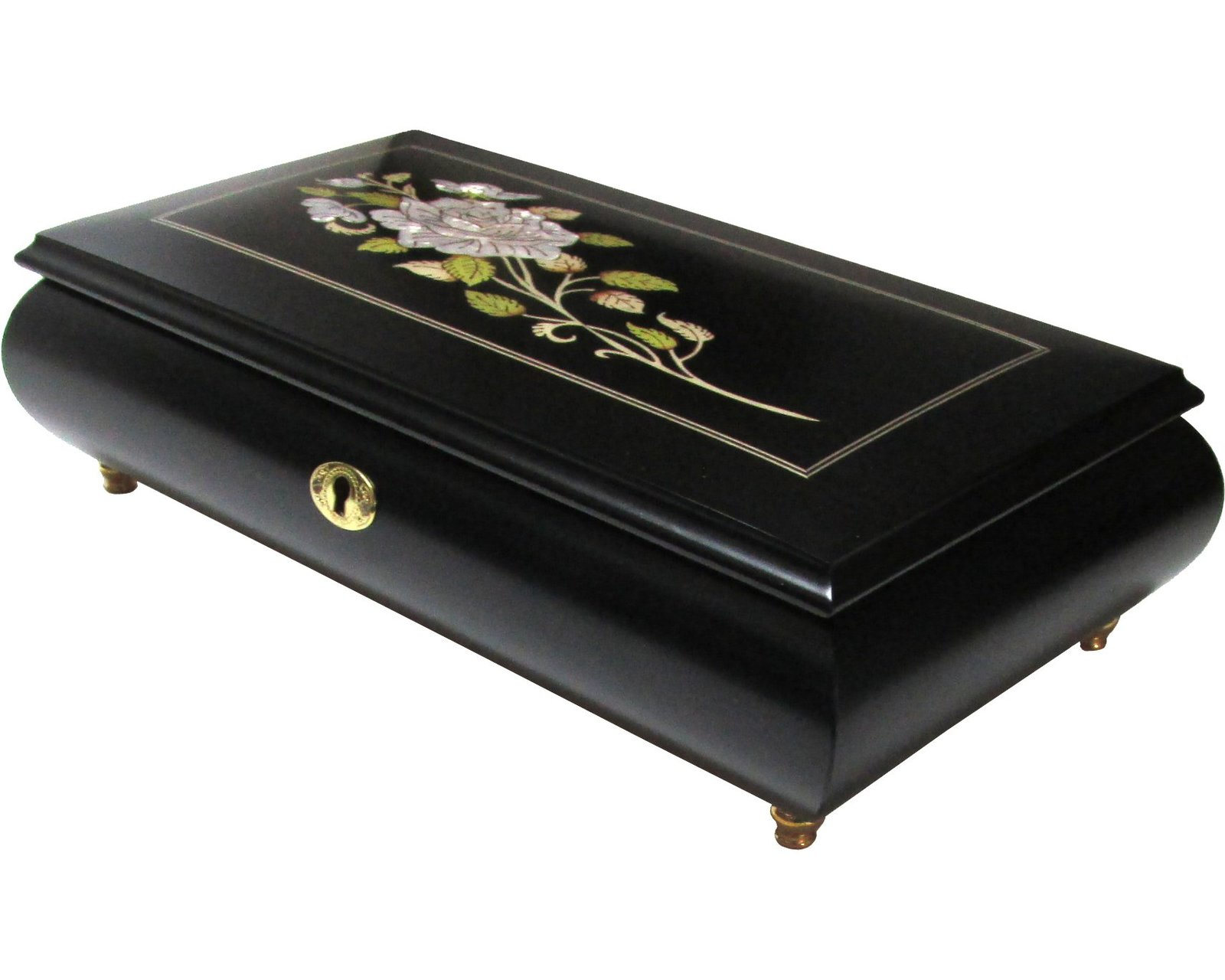 "Primary image for Italian Music Box XL 11"", MOP Floral Inlay, Matte Black"