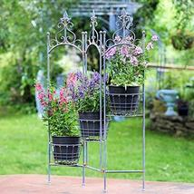 Folding Metal Plant Stand with 3 Baskets (Rustic Blue) - $119.95
