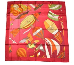 Hermes Scarf Les Folies Du Ciel Ⅱ 2 Silk 90 cm Red Carre Shawl Stole - $394.02