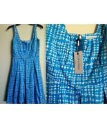 CALVIN KLEIN mod 60s Panton Eames Mad Men MCM blue white geometric DRESS... - $140.00