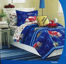 Truckin Vehicles Blue Boys Twin Comforter Sheets Pillow 5PC Bedding Set New - $102.50