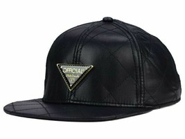 Official All Over Quilted Satin Adjustable Strapback Black Flat Bill Cap... - £14.24 GBP