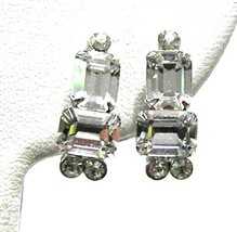 Gorgeous Clear Square Rhinestone Screw On Vintage Earrings - $13.19