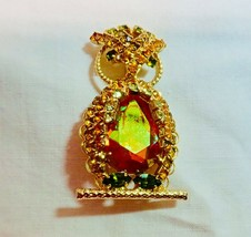 Designer Signed HOBE 1965 Rhinestone Owl Pin Pendant Brooch ORANGE GREEN... - $84.15