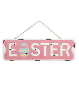 DaricenPink Easter Metal Wall Sign with Egg, 18 x 5.5 inches w - $15.99