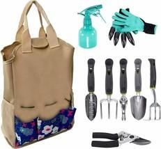 Heavy Duty 9 PCs Garden Tool Set w/Organizer Tote Gardening Gloves - £21.57 GBP