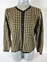 TALBOTS womens Small petite L/S gold black WOOL blend button down jacket... - $19.59