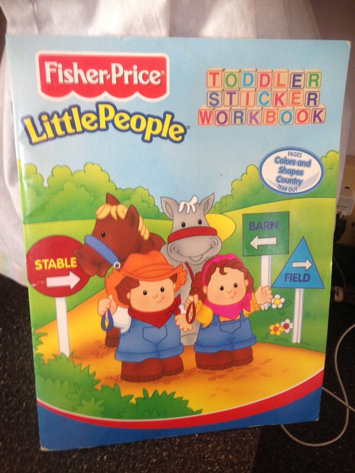 Fisher Price Little People Toddler Sticker Workbook Colors and Shapes Country