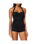 Seafolly Women's Twist Front Soft Cup Boyleg One Piece Swimsuit, Black, 4 US - $140.58